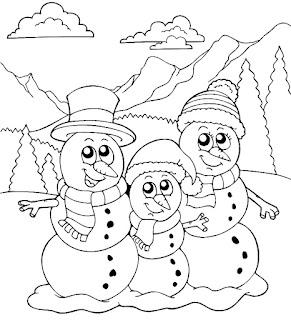 משפחת בובות שלג לצביעה