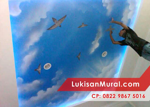lukisan mural motif awan