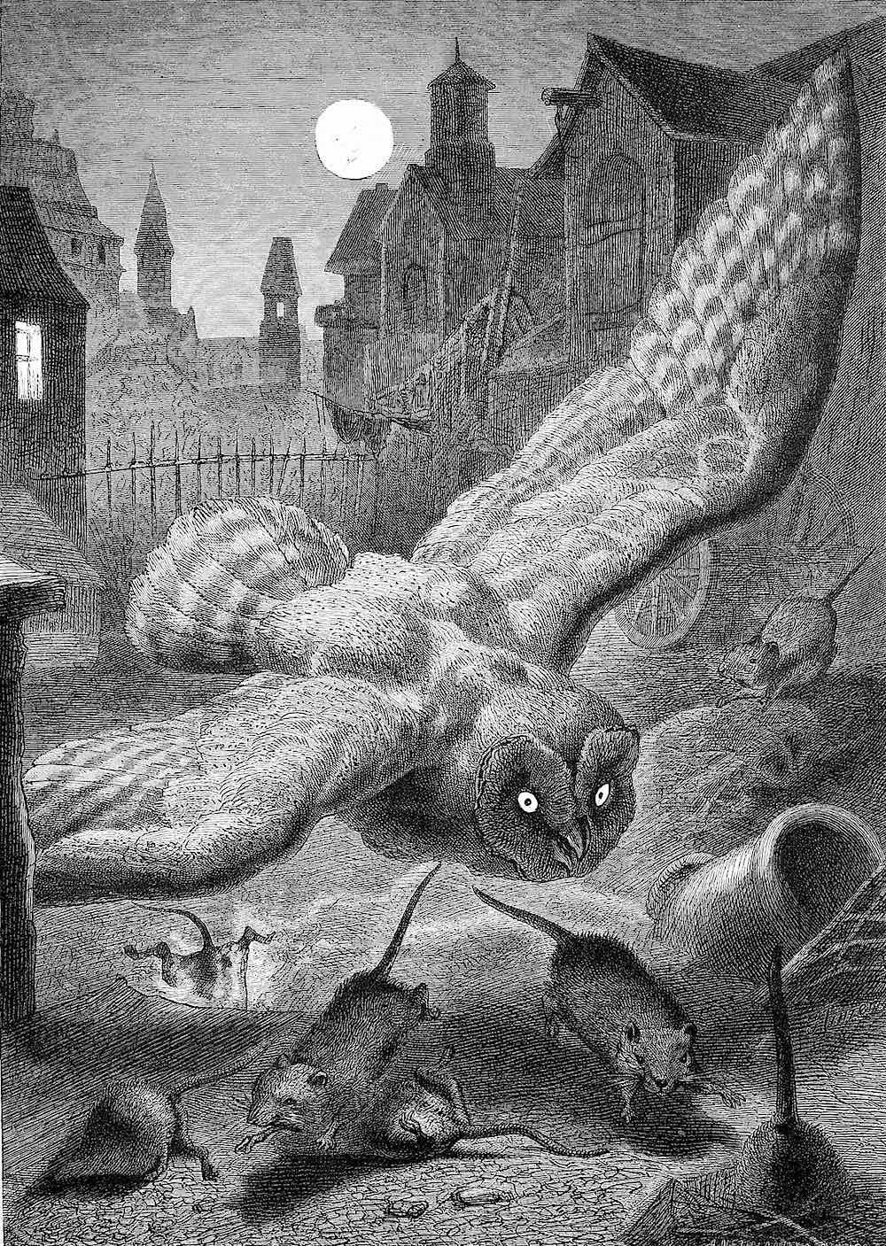 Fedor Flinzer 1879, an owl attacking mice