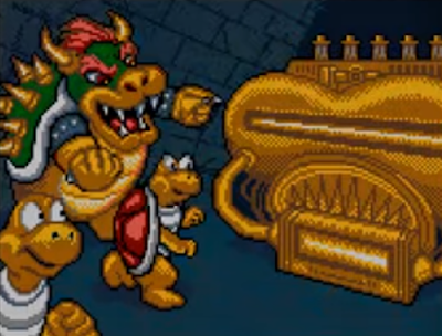 Mario's Time Machine SNES version Bowser Koopa Troopas artwork cutscene