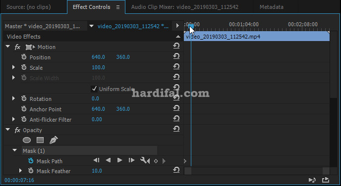 Cara masking di adobe premiere pro cc - geser keyframe