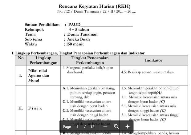 RKH PAUD 4-5 Tahun Tema Tanaman Kurikulum 2013