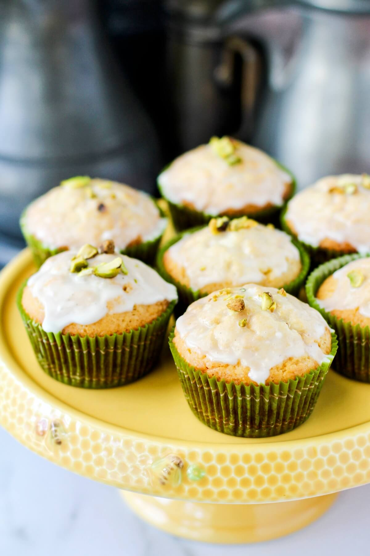 White Chocolate Muffins with a Pistachio Topping