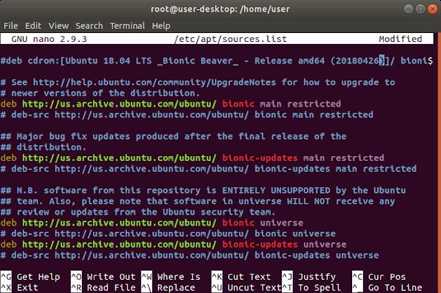 Repository Default Ubuntu 18.04 Linux