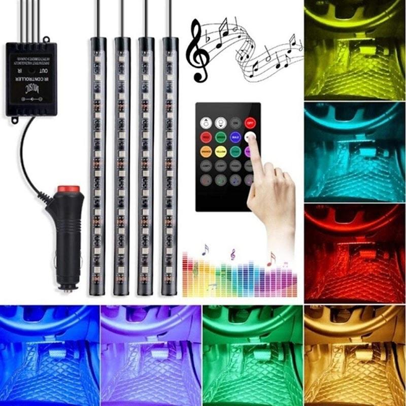70% OFF 4x12 LEDs Car Lights Interior with 8 Colors,LED Strip Lights for Cars Waterproof APP Controller Lighting Kits, Multi DIY Color Music Under Dash Car Lighting