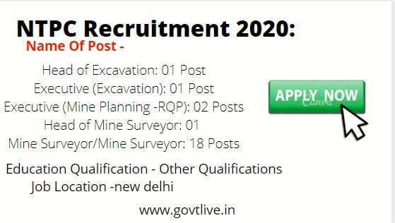 NTPC Recruitment 2020:  - 23 Head of Excavation Executive and Other Posts