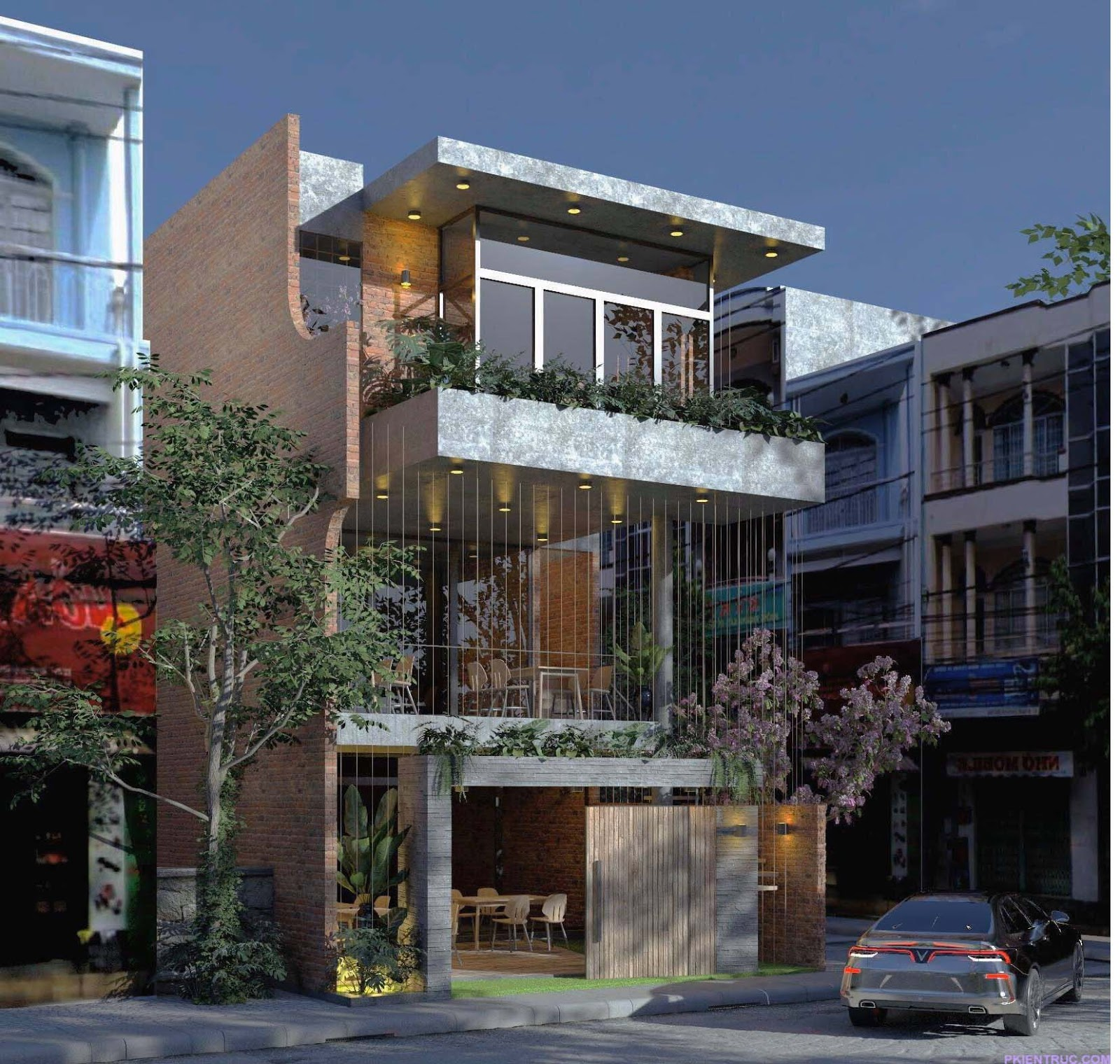 Phối cảnh chính thiết kế nhà phố phong cách thô mộc
