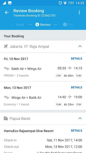 Details pesanan di Traveloka