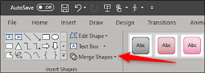 دمج خيار الأشكال في علامة التبويب تنسيق الشكل