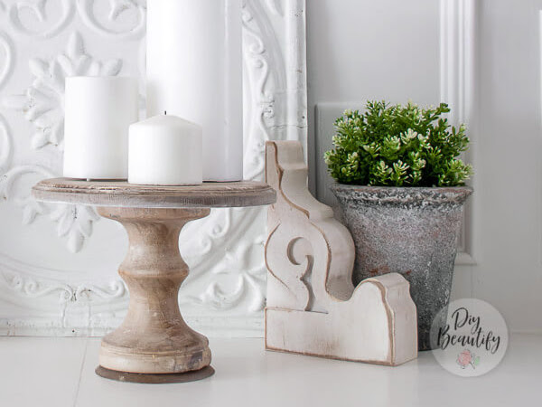 DIY Weathered Wood Pedestal From a Chunky Candlestick