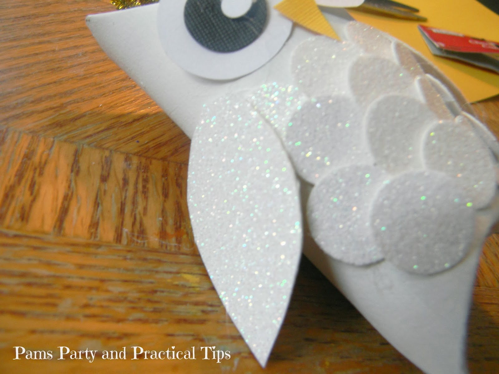 Pams party practical tips snow owl ornaments i bought a 12 x 12 piece of white glitter cardstock at the craft store for about a dollar i made three owl ornaments today and i still have a ton of jeuxipadfo Image collections