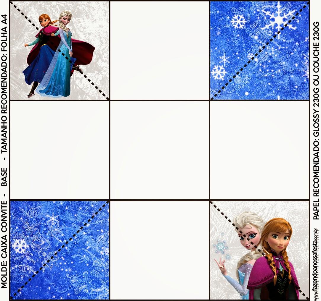 Parte de abajo de la caja de invitacion de Frozen.