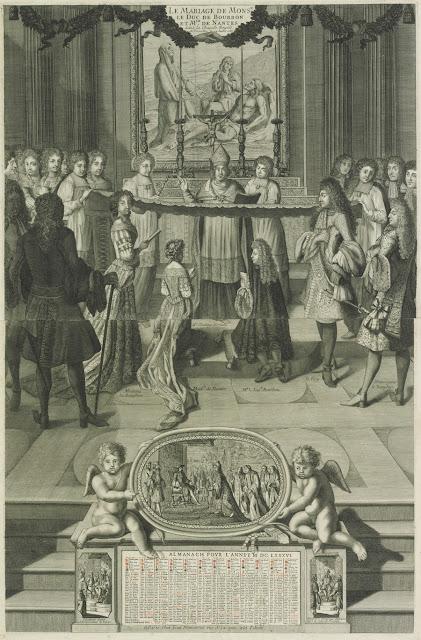 Mariage du Duc de Bourbon et de Mademoiselle de Nantes à Versailles en 1685