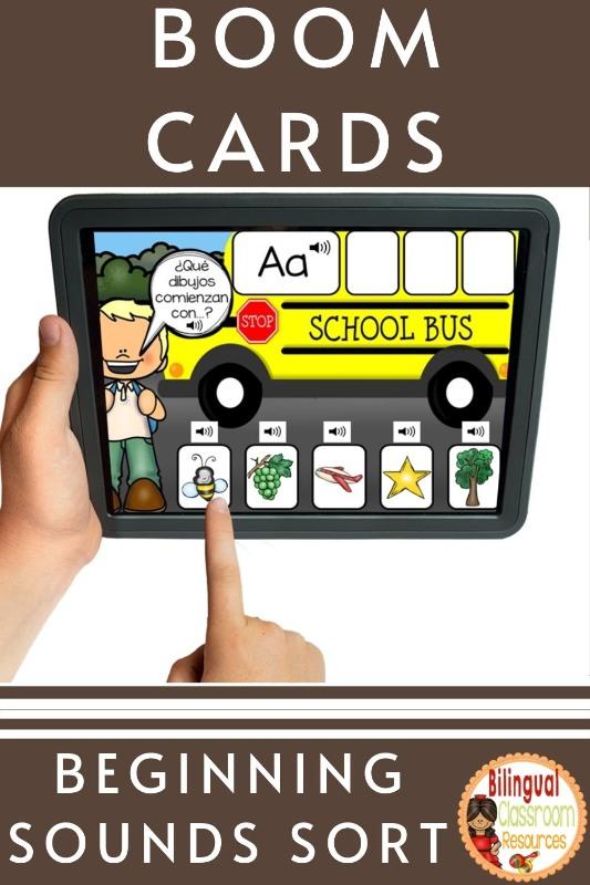 BOOM Cards Beginning Sound Sort in Spanish l l Clasificando sonidos iniciales