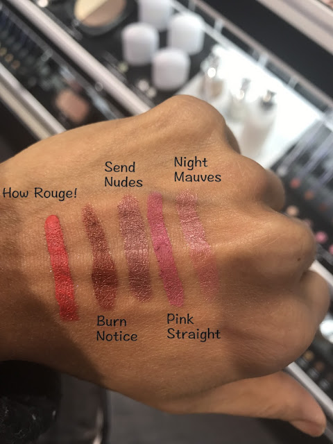 Marc Jacobs Beauty Le Marc Liquid Lip Crayons in How Rouge!, Burn Notice, Night Mauves, Pink Straight, Send Nudes Swatches