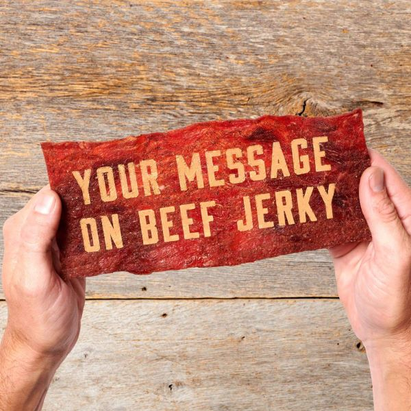Personalized laser printed beef jerky