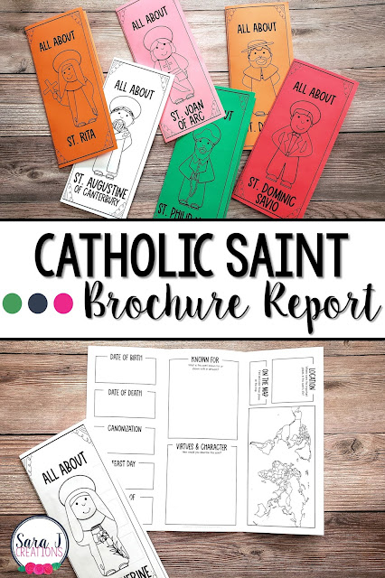 Catholic saint brochure reports are perfect for research reports. Use for saint studies in your classroom or All Saints' Day activities