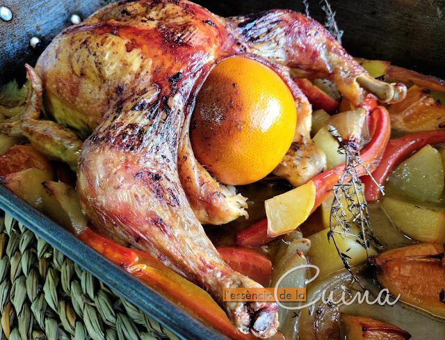 Pollastre a la Taronja sencer al Forn, Cuina Facil, cuina casolana, pollo a la Naranja al Horno, lessencia de la cuina, blog de cuina de la sònia