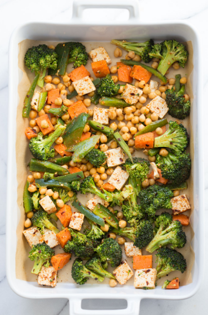 SHEET PAN VEGGIE DINNER WITH BROCCOLI, SWEET POTATO, TOFU, CHICKPEAS & MISO MAPLE DRESSING