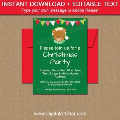 holiday bear invitation download