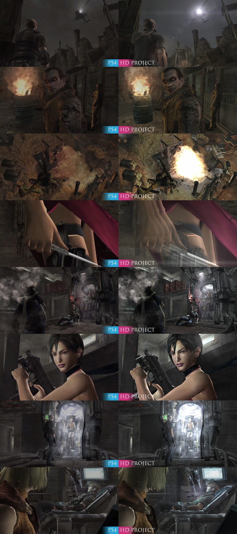 New comparison of the modification of Resident Evil 4 HD Project with the original