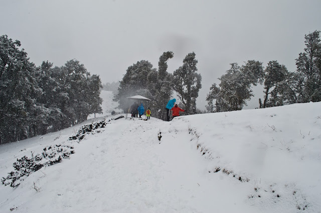 Other trekkers enjoying snowfall