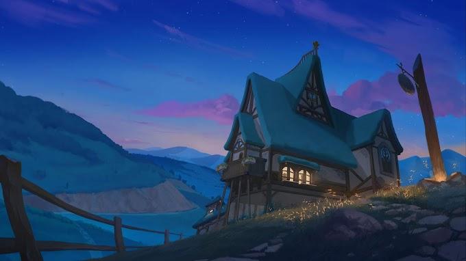 Casa, Montanhas, Rio, Noite, Arte