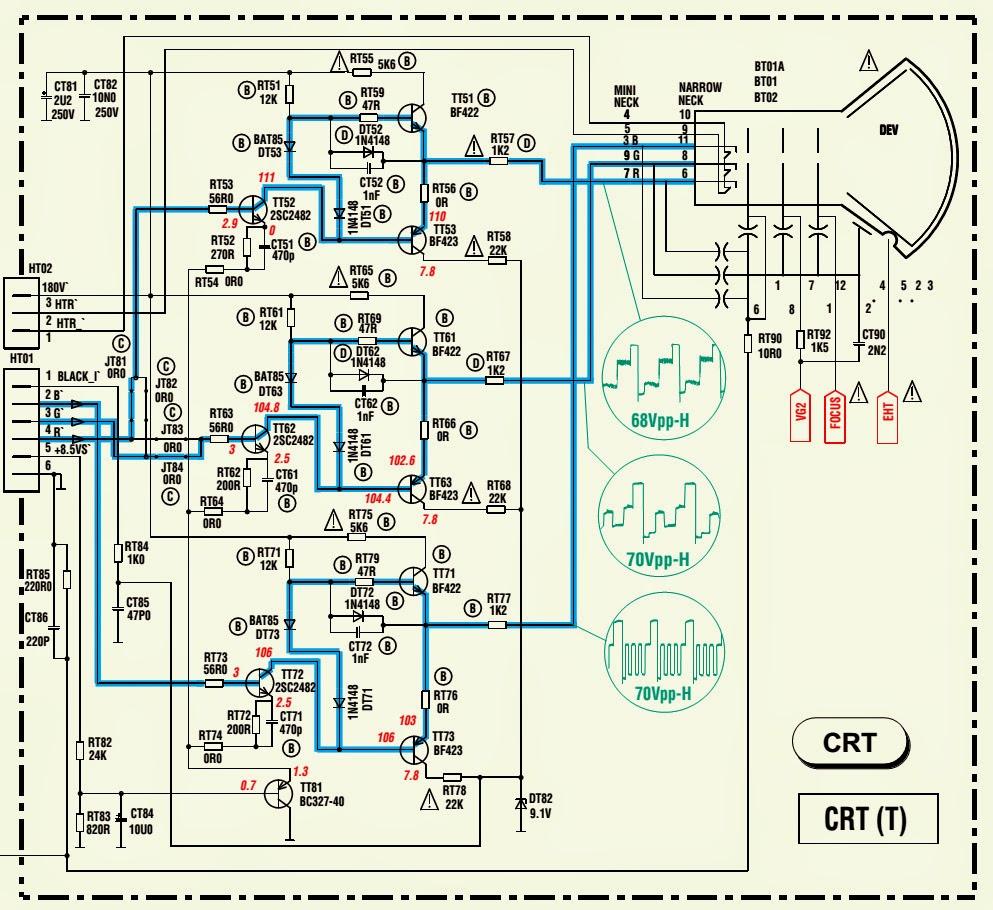 crt wiring diagram toshiba tv crt schematic diagram