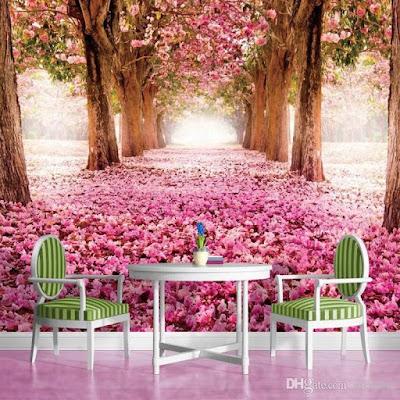 blommig tapet rosor på marken träd gång fototapet rosa fondtapet 3d