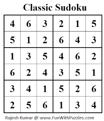 Classic Sudoku (Mini Sudoku Series #25) Solution
