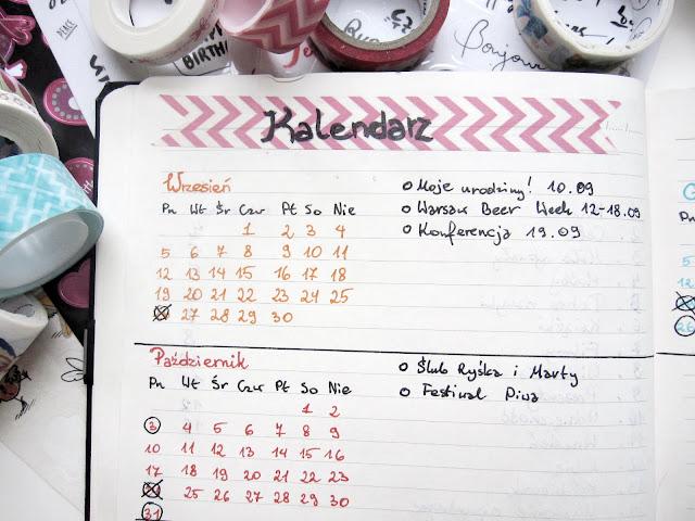 kalendarz | planer | bullet journal kalendarz