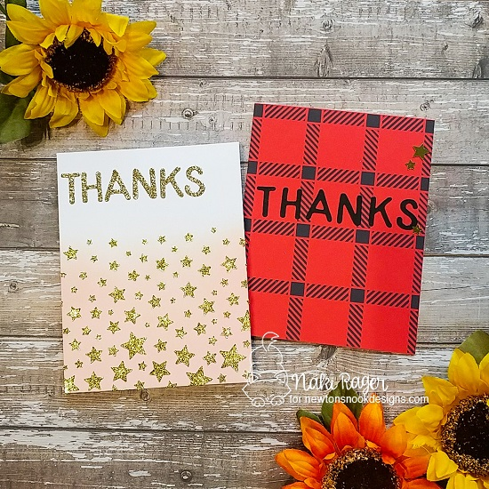 Duo of Thank You Cards by Nakaba Rager | Cascading Stars Stencil, Plaid Stencil Set and Essential Alphabet Die Set by Newton's Nook Designs #newtonsnook #handmade