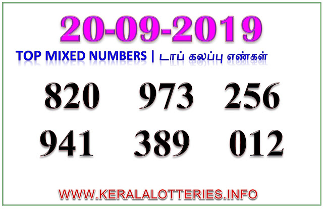 Kerala Lottery Guessing Best Mixed Numbers 20.09.2019