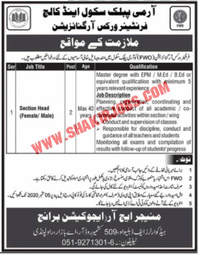 Jobs in Army Public School & College Jobs September 2020