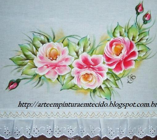 pintura em tecido pano de prato rosa vermelha