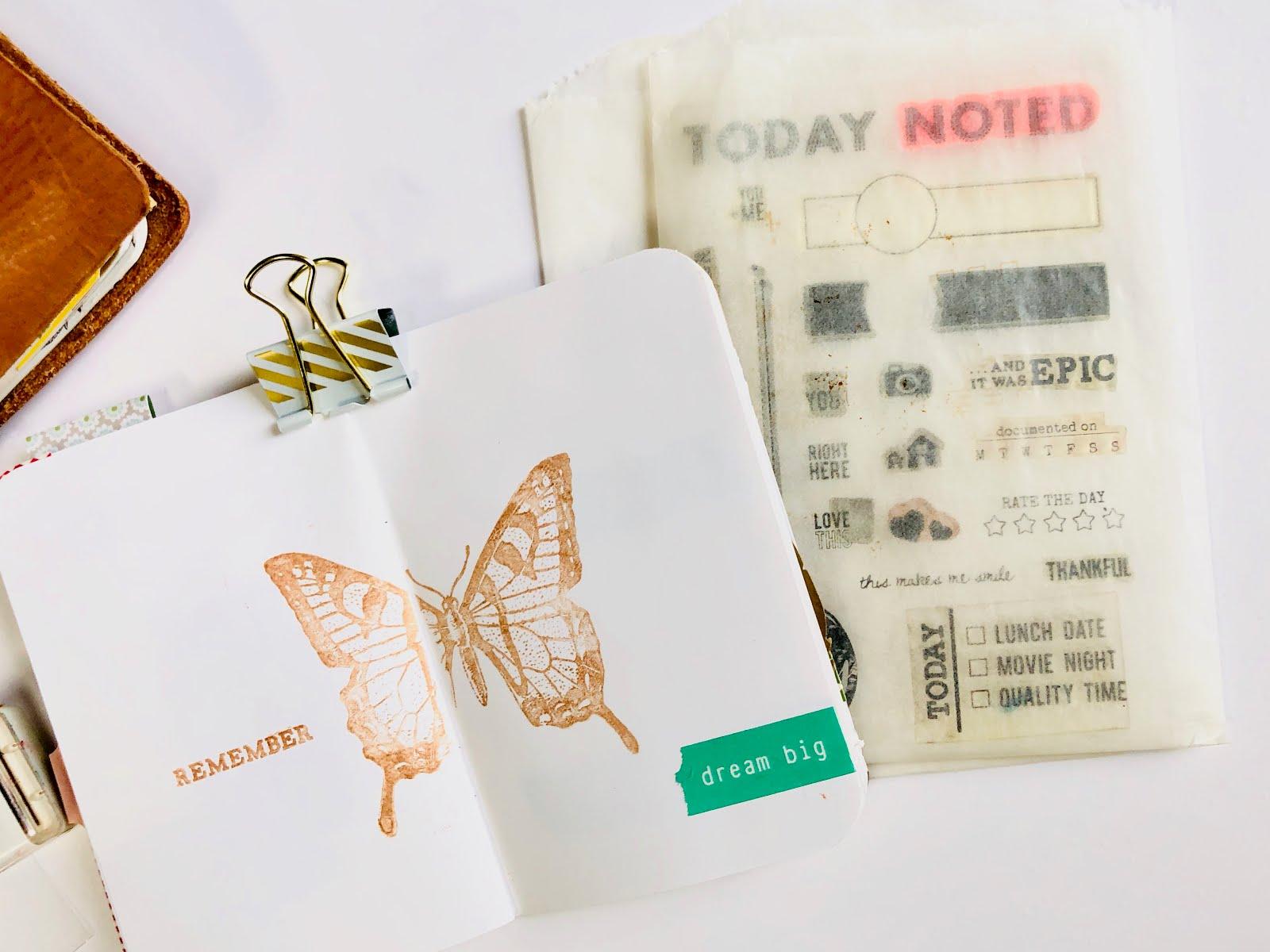 #Travelers Notebook #Gratitude Journal #journaling #Midori #Planner #notebook #thankfulness #gratitude #grateful #art journal #art journaling #stamping