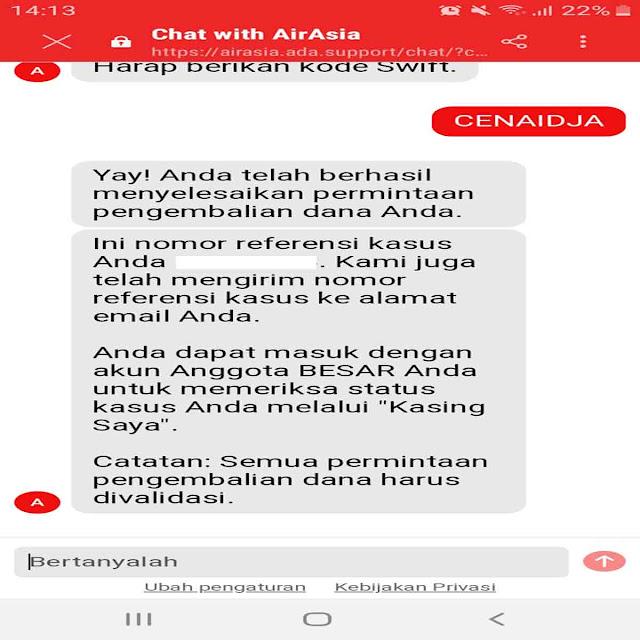 kode referensi Refund Tiket Air Asia