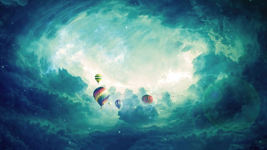 Hot Air Balloon, Sky, Clouds, Scenery, 4K, #6.969