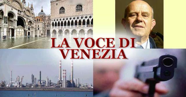 Un collage con le immagini di Piazza San Marco con l'acqua alta, il prof Gambolati, Marghera e una pistola