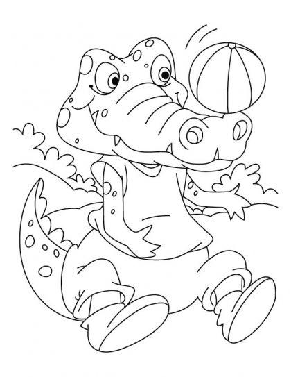 Tranh tô màu cá sấu chơi bóng