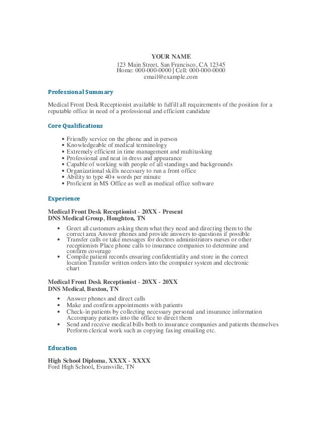 download medical front desk receptionist resume