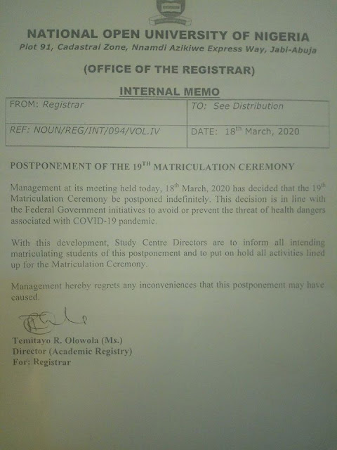 NOUN 19th Matriculation Ceremony Date & Requirements 2020