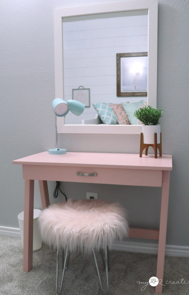 desk and mirror for girls room