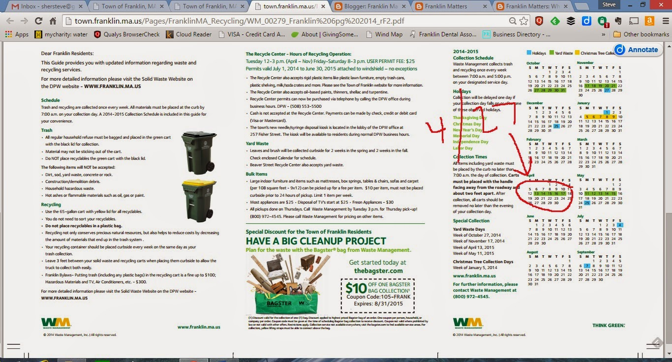 screen grab indicating change in the schedule for yard waste pickup