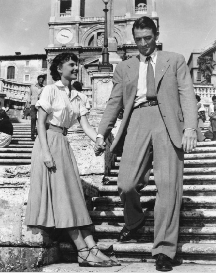 Audrey Hepburn on Spanish Steps in Italy