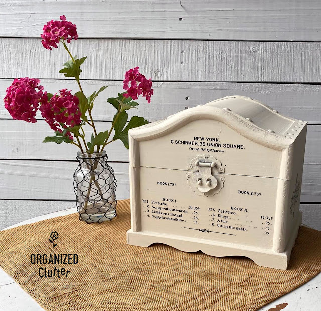 Photo of treasure chest painted off white with stencils and decor transfers