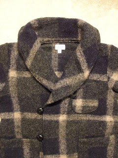 "FWK by Engineered Garments ""Knit Robe in Dk.Navy/Grey Wool Knit Plaid"""