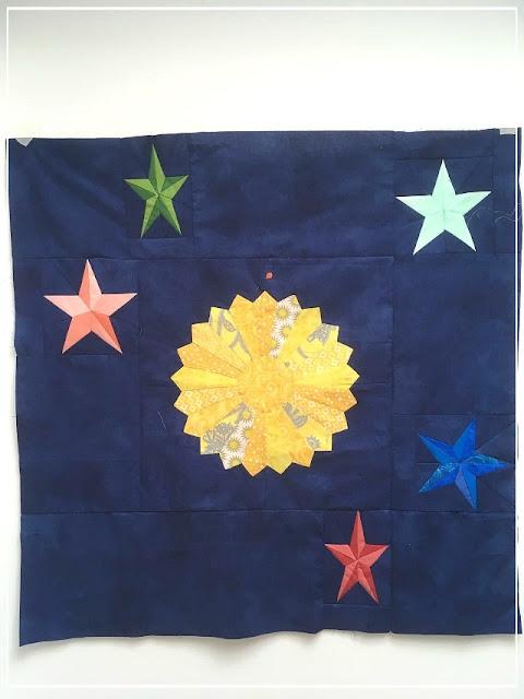 Puppilalla, round robin quilt, modern quilt, Dresen Plate Block, Star Quilt, Star Quilt Block