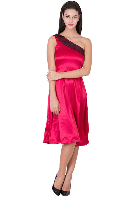 Red Desire One Offshoulder midi dress by Ashima S Couture