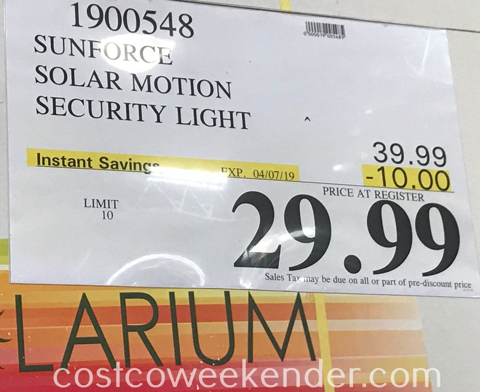 Deal for the Sunforce Solar Motion Activated Light at Costco